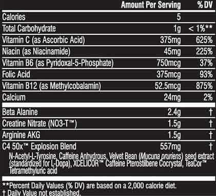 Cellucor C4 50x Label